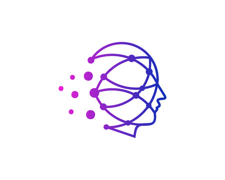 Illustration pour Dot Human Head Logo Icon Design - image libre de droit