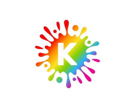 Ilustración de K Letter Splash Logo Icon Design - Imagen libre de derechos