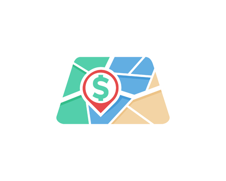 Illustration pour Money Map Logo Icon Design - image libre de droit