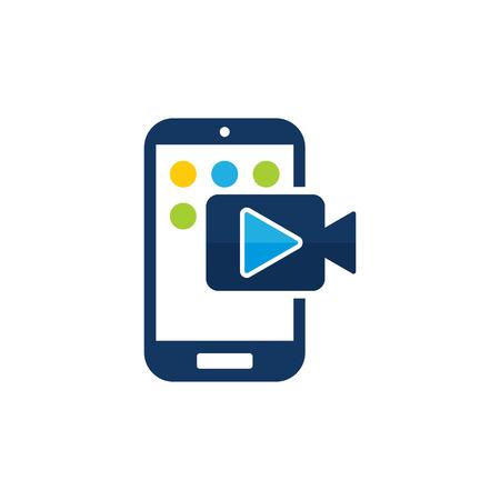 Ilustración de Video Mobile Phone Logo Icon Design - Imagen libre de derechos