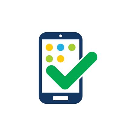 Illustration pour Check Mobile Phone Logo Icon Design - image libre de droit