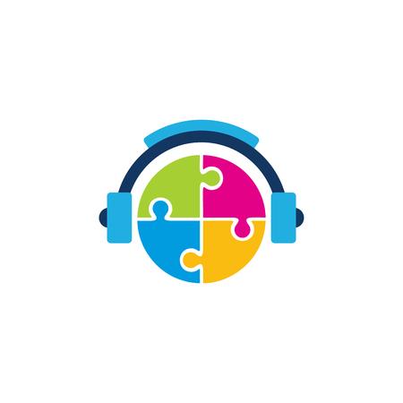 Ilustración de Puzzle Music Logo Icon Design - Imagen libre de derechos