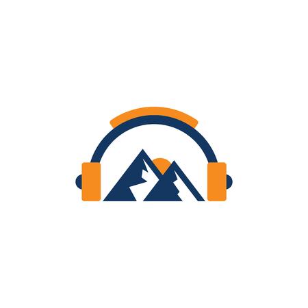 Illustration pour Mountain Music Logo Icon Design - image libre de droit