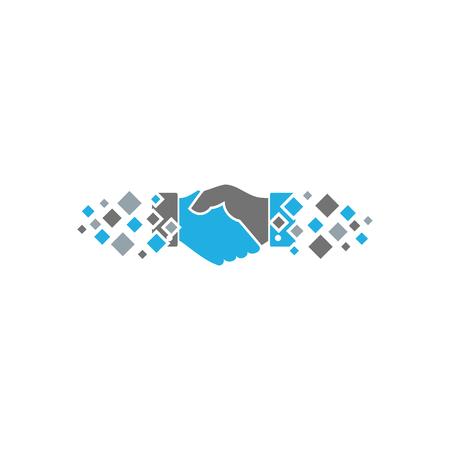 Ilustración de Handshake Pixel Logo Icon Design - Imagen libre de derechos