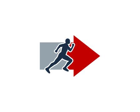 Ilustración de Arrow Run Logo Icon Design - Imagen libre de derechos