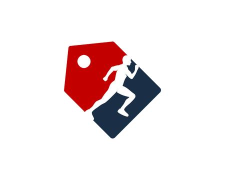 Ilustración de Label Run Logo Icon Design - Imagen libre de derechos