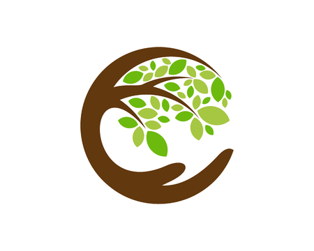 Illustration for Care Tree Logo Icon Design - Royalty Free Image