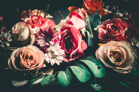 Foto de Close up colorful bunch of beautiful flowers.Vintage or retro tone. - Imagen libre de derechos