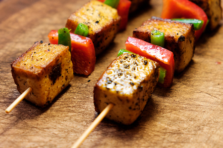 Photo for Tofu breaded. Vegetarian kebab with tofu cheese. - Royalty Free Image