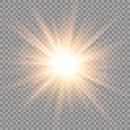 Ilustración de Glow transparent glitter, spark, sun flash. - Imagen libre de derechos