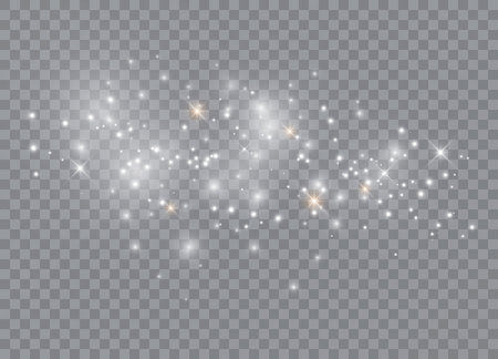 Ilustración de Sparks glitter special light effect. Vector sparkles on transparent background. Christmas abstract pattern. Sparkling magic dust particles - Imagen libre de derechos