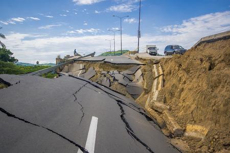 Foto de Portoviejo, Ecuador - April, 18, 2016: Cracked road after 7.8 earthquake. - Imagen libre de derechos