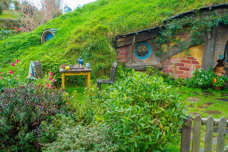 Photo for NORTH ISLAND, NEW ZEALAND- MAY 16, 2017: Hobbit house, hobbiton movie set, site made for movies: Hobbit and Lord of the ring in Matamata, north island of New Zealand - Royalty Free Image