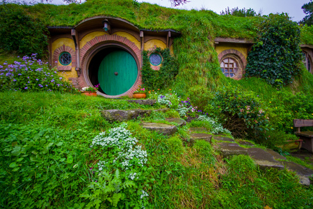 Photo for NORTH ISLAND, NEW ZEALAND- MAY 16, 2017: The front gate of Bag End, Hobbiton, the home of key character in the famous movie. Hobbiton is the fictional village created for the movie Lord of the Rings - Royalty Free Image
