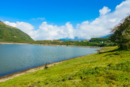 Photo for Beautiful lagoon located in Papallacta the Andean highlands in a sunny day in Quito Ecuador - Royalty Free Image