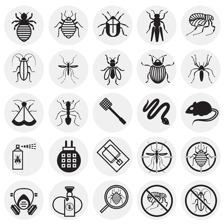 Photo pour Pest icons set on circles background for graphic and web design, Modern simple vector sign. Internet concept. Trendy symbol for website design web button or mobile app - image libre de droit