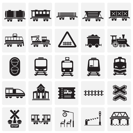 Illustration pour Railroad related icons set on squares background for graphic and web design. Simple vector sign. Internet concept symbol for website button or mobile app - image libre de droit