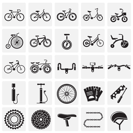 Bicycle related icons set squares on background for graphic and web design. Simple vector sign. Internet concept symbol for website button or mobile app.