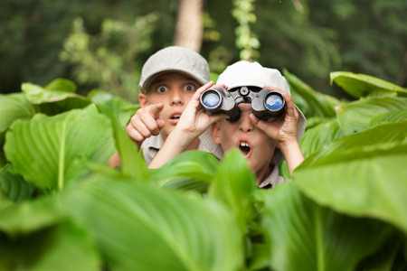 Photo for two Boy hiding in grass looking through binoculars outdoor - Royalty Free Image