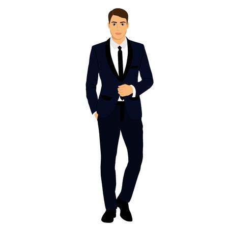 Illustrazione per The groom. Clothing. Wedding men's suit, tuxedo Vector illustration - Immagini Royalty Free