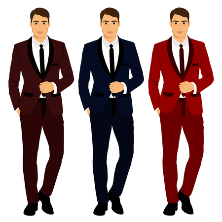 Illustration pour Collection of Clothing in various colors  The groom. Wedding men's suit, tuxedo illustration - image libre de droit