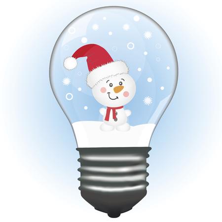 Ilustración de A snowman in a lamp. Christmas decoration. A toy. Vector illustration - Imagen libre de derechos