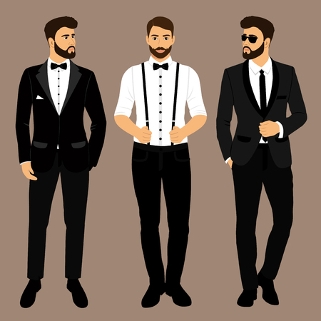 Illustrazione per A man with suspenders. The groom. Clothing. Wedding men's suit, tuxedo. Vector illustration - Immagini Royalty Free