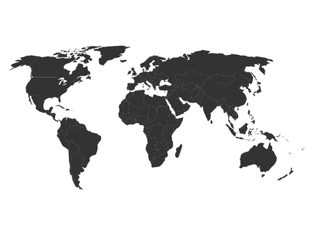 Foto de World map silhouette without states, vector illustration - Imagen libre de derechos
