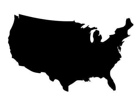 Illustration pour Solid black silhouette map of United States of America without Alaska and islands, vector illustration - image libre de droit