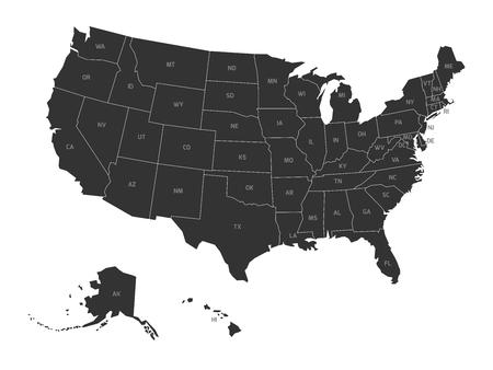 Foto für Map of United States of America with state codes. Simplified dark grey silhouette vector map on white background. - Lizenzfreies Bild