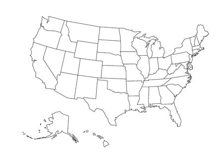 Illustration pour Blank outline map of United States of America. Simplified vector map made of black outline on white background. - image libre de droit