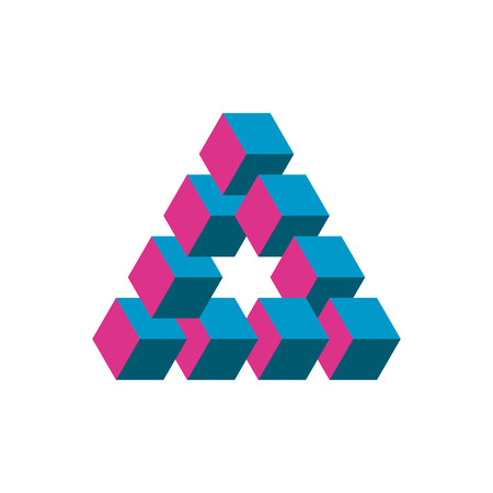 Illustration for An Impossible triangle in three different colors. Cubes arranged as geometric optical illusion. Reutersvard triangle. Vector illustration. - Royalty Free Image