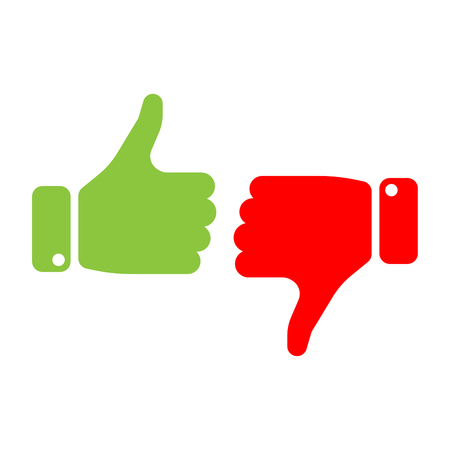 Illustrazione per Vote thumbs up icon in red and green . Make a choice, yes or no, love it or hate it, like or dislike win or loss. Vector illustration. - Immagini Royalty Free
