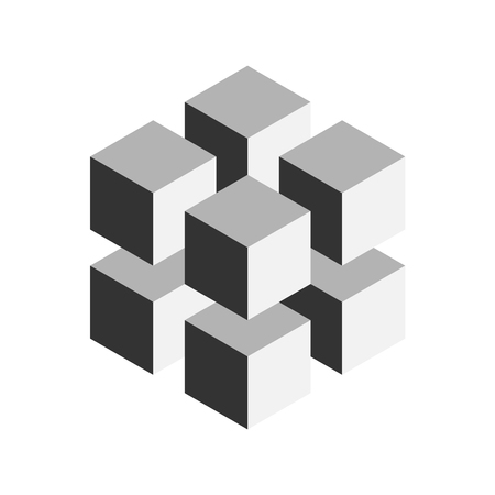 Illustration for Grey geometric cube of 8 smaller isometric cubes. Abstract design element. Science or construction concept. 3D vector object. - Royalty Free Image
