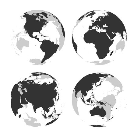 Illustration for Set of transparent Earth globes with grey land silhouette map. Vector illustration. - Royalty Free Image