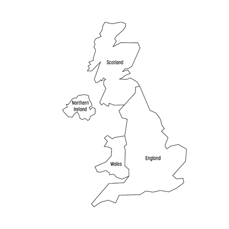 Illustration pour Map of United Kingdom countries - England, Wales, Scotland and Northern Ireland. Simple flat vector outline map with labels. - image libre de droit