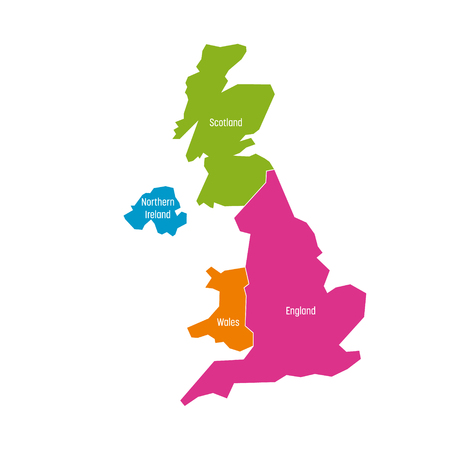 Illustration pour United Kingdom, UK, of Great Britain and Northern Ireland map. Divided to four countries - England, Wales, Scotland and NI. Simple flat vector illustration. - image libre de droit