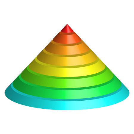Illustration for Layered cone. 3D conical pyramid of 8 multicolored rainbow spectrum layers. Vector illustration. - Royalty Free Image