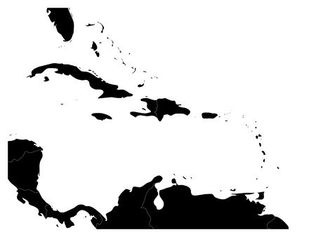Illustration pour Map of Caribbean region and Central America. Black land silhouette and white water. Simple flat vector illustration. - image libre de droit