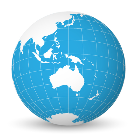Illustration pour Earth globe with green world map and blue seas and oceans focused on Australia. With thin white meridians and parallels. 3D vector illustration. - image libre de droit