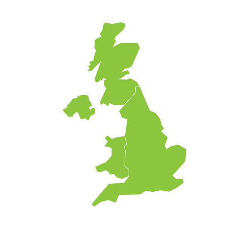 Illustration pour United Kingdom, UK, of Great Britain and Northern Ireland map. Divided to four countries - England, Wales, Scotland and NI. Simple flat green vector illustration. - image libre de droit