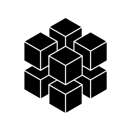 Illustration for Black geometric cube of 8 smaller isometric cubes. Abstract design element. Science or construction concept. 3D vector object. - Royalty Free Image