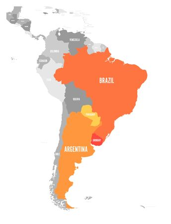 Ilustración de Map of MERCOSUR countries. South american trade association. Orange highlighted member states Brazil, Paraguay, Uruguay and Argetina. - Imagen libre de derechos