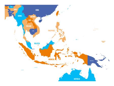 Illustration pour Vector map of Southeast Asia. - image libre de droit