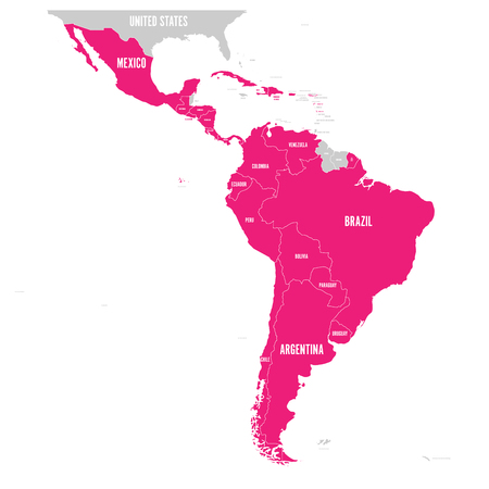 Illustration pour Political map of Latin America. Latin american states pink highlighted in the map of South America, Central America and Caribbean. Vector illustration. - image libre de droit