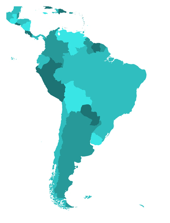 Illustration pour Political map of South America. Simple flat blank vector map in four shades of turquoise blue. - image libre de droit