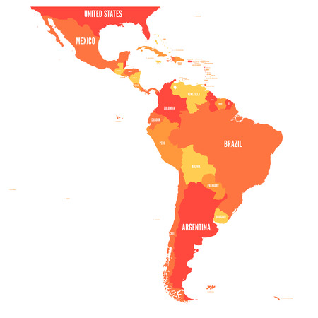 Illustration pour Map of Latin America. Vector illustration in shades of orange. - image libre de droit