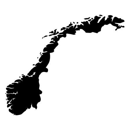 Illustration pour Norway - solid black silhouette map of country area. Simple flat vector illustration. - image libre de droit
