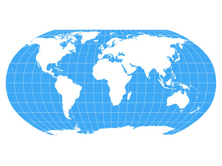 Illustration for World Map in Robinson Projection with meridians and parallels grid. White land and blue seas and oceans. Vector illustration. - Royalty Free Image