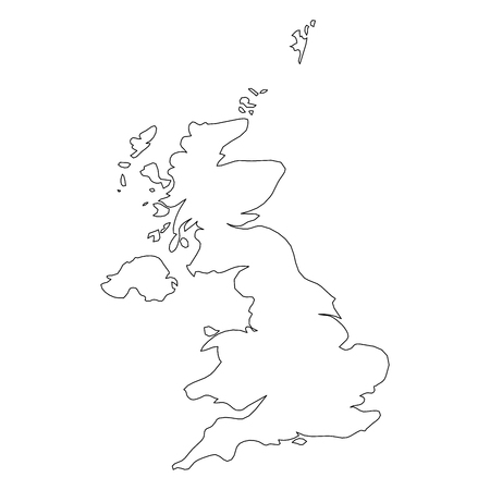 Illustration pour United Kingdom of Great Britain and Northern Ireland, UK - solid black outline border map of country area. Simple flat vector illustration. - image libre de droit
